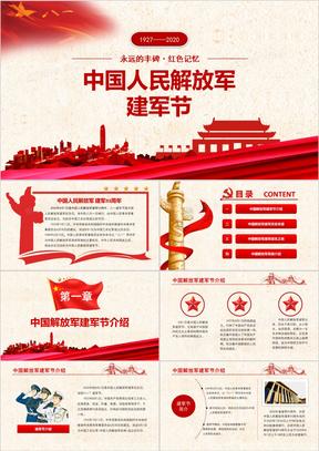 红色党政风中国人民解放军八一建军节PPT模板
