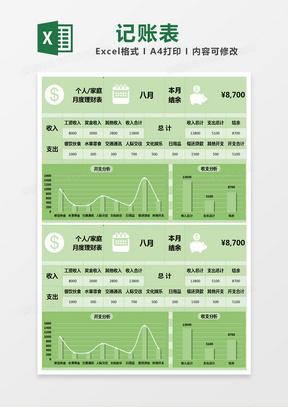 绿色清新家庭(个人)理财记账表excel模版