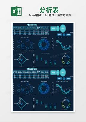 蓝色商务财务日报表分析表excel模版
