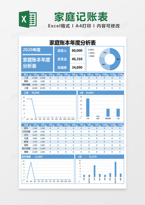 蓝色简约家庭账本年度分析表记账表excel模版