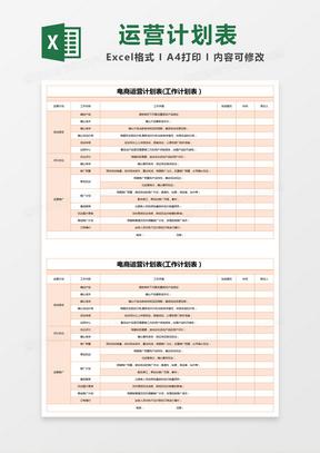 橙色简约电商运营计划表(工作计划表)excel模版