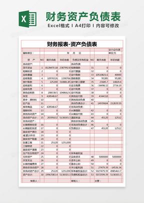 红色简约财务报表资产负债表excel模版