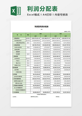 企业财务利润及利润分配表Excel模板