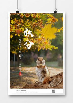 大气秋季二十四节气秋分海报