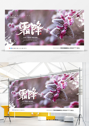 摄影简约二十四节气霜降宣传展板设计