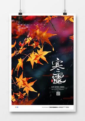 摄影创意简约二十四节气寒露宣传海报设计