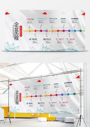 时尚简洁几何企业发展历程展板设计