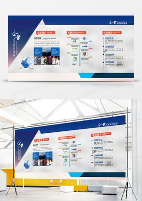 创意蓝色企业文化墙展板设计