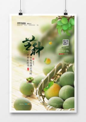 小清新青梅酿酒二十四节气芒种创意海报设计