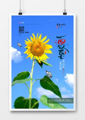 简洁摄影图合成二十四节气夏至创意海报