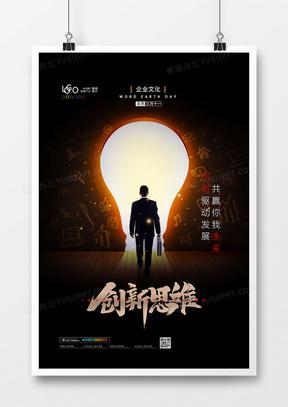 黑金大气创新思维企业文化海报设计