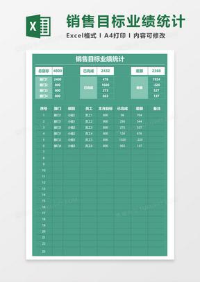 销售目标业绩统计表excel模板