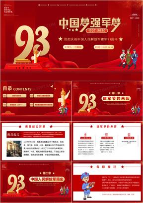 红色党建中国梦强军梦热烈庆祝中国人民解放军建军93周年八一建军节PPT模板
