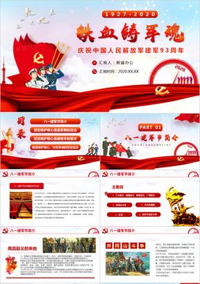 铁血铸军魂热烈庆祝中国人民解放军成立93周年八一建军节PPT模板