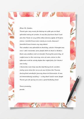 粉色小清新花瓣信纸ai信纸背景模板