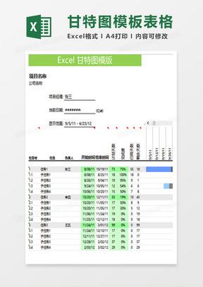 项目进度管理甘特图模板表格excel模板
