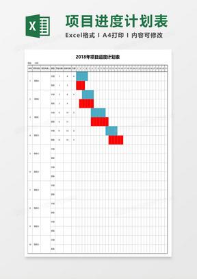 各个项目月份进度计划表格甘特图excel模板
