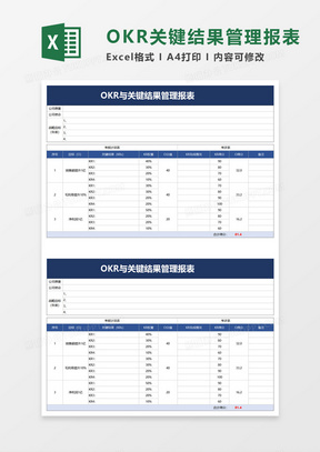 OKR与关键结果管理报表EXCEL模板