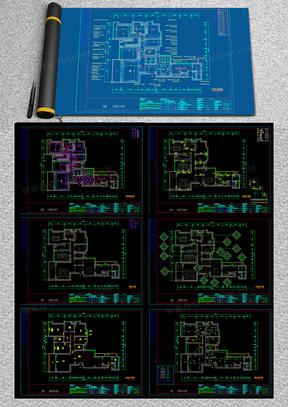 精装现代风格室内住宅装修设计方案施工图cad图纸