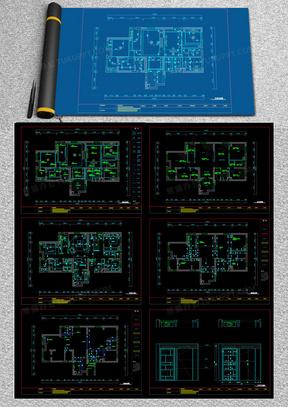 现代室内装修施工图住宅装修设计方案cad图纸