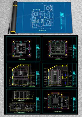 中式别墅施工图装修设计方案CAD图纸