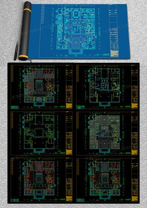 豪华办公空间设计施工图装修设计方案cad图纸