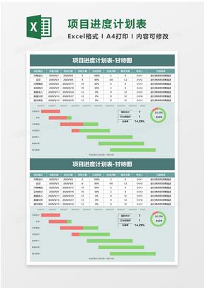 简单项目进度计划表excel模板