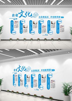 蓝色企业文化历程文化墙