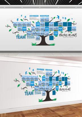 商务简洁蓝色企业文化墙