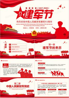 八一建军节热烈庆祝中国人民解放军建军93周年动态PPT模板