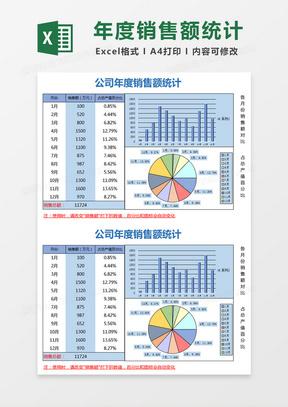 公司年度销售额统计Excel模板
