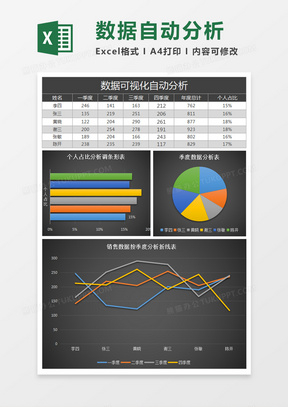 数据可视化分析销售表excel模板