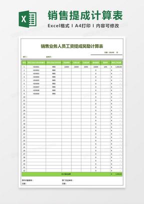 销售业务人员工资提成奖励计算表Excel模板