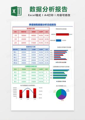 多彩简约季度销售数据分析总结报告Excel模板