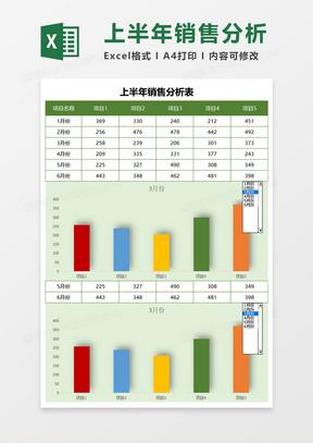 实用上半年销售分析表Excel模板