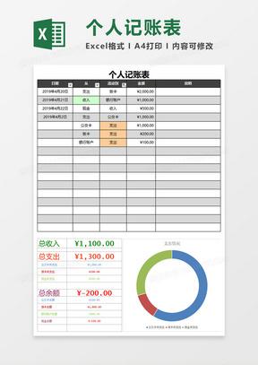个人记账表Excel模板