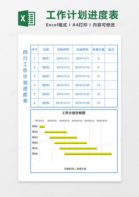 工作计划进度表-甘特图Excel模板