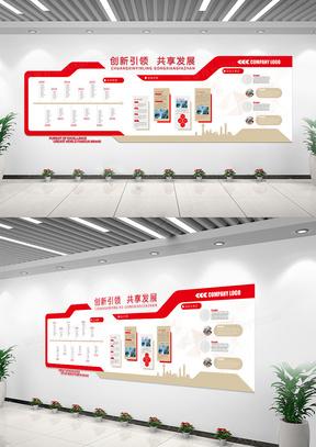 红色简约企业文化介绍宣传文化墙
