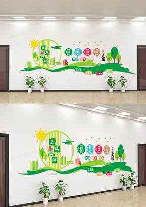 绿色校园文化三风一训文化墙