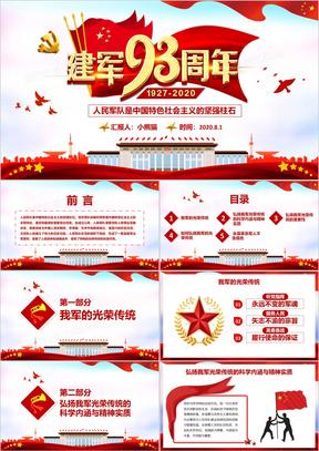 2020红色党建建军93周年教育演讲PPT模板
