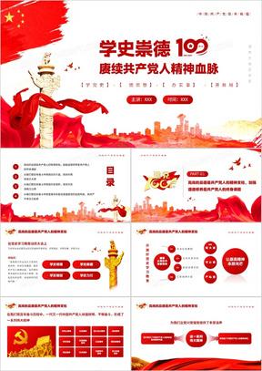 红色党政风学史崇德赓续共产党人的精神血脉教育PPT模板