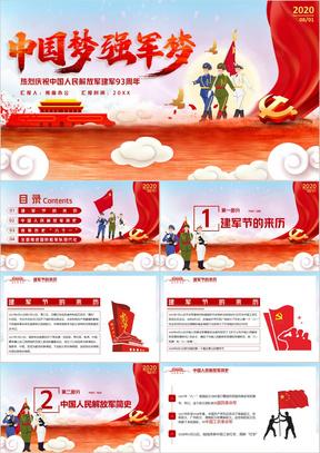 红色党政风中国梦强军梦建军93周年PPT模版