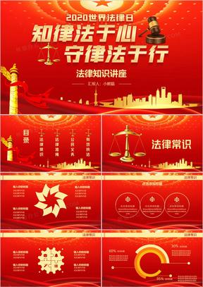 大气红色党政风世界法律日PPT模板