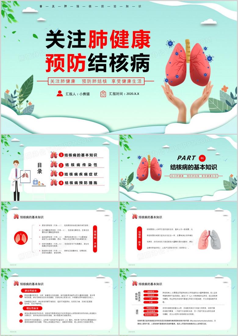 简约医疗关注肺健康预防肺结核主题PPT模板