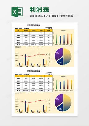 营业毛利利润报表Excel模板