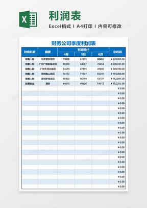 财务公司季度利润表Excel模板
