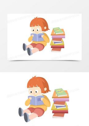 卡通可爱读书日小女生读书手绘形象