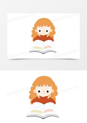 读书日世界读书日元素女孩看书卡通手绘