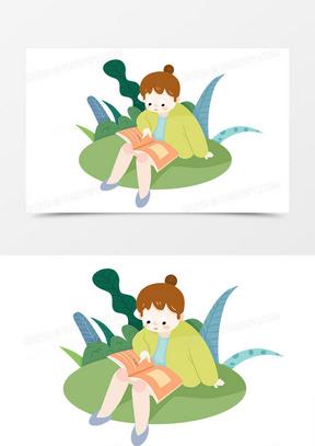 卡通可爱世界读书日小女孩读书手绘形象