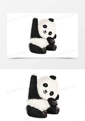 熊猫卡通手绘动物海报手抄报形象卡通可爱元素